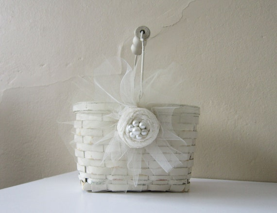 F L O W E R  Girl Basket - RESERVED- Weddings - Shabby Chic - Beach - Cottage - Vintage - French coutry - rustic