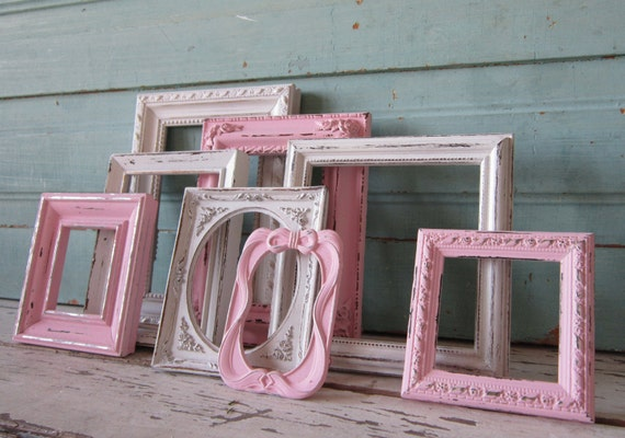 Frame Grouping - Shabby Pink frames -   Frame set - Childrens decor - Paris Chic -Shabby Cottage - Beach - French Country