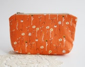 Wide Clutch, to Store Cosmetics, Working Material or Pens - Field of Orange Flowers