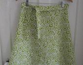 green and white swirl wrap skirt