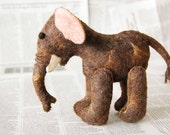 Felted ELEPHANT-- BABY SHOWER Gift -- brown pink light blue felt toy -- handmade pure wool unique soft sculpture