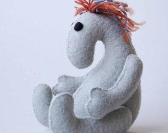 ART DOLL Human Felt Toy Grey Handmade Gorgeous SAFE all natural materials