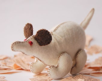 White Felted Rat Small Toy -- Pure Merino Wool Handmade Felt -- Unique Chinese Zodiac Animal