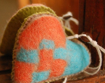 Felted Heart Handmade Pure Wool Felt New Home Lucky Charm Orange Turquoise and Green