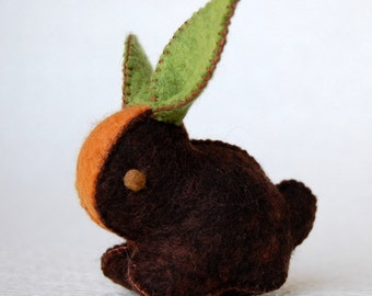 Dark Brown CARROT BUNNY Rabbit Handmade Felt TOY Pure Wool Unique Ecofriendly