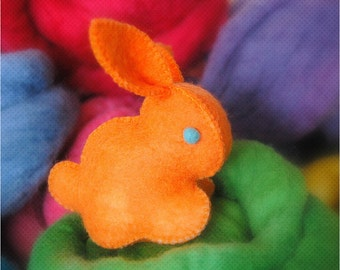 BABY BUNNY Bright ORANGE Handmade Unique Felt Toy Made in Canada