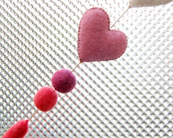 Lilac White FELT HEARTS Home Ornament Felted Beads Merino Wool Natural Materials Handmade Eco Friendly Lilac White Red Purple