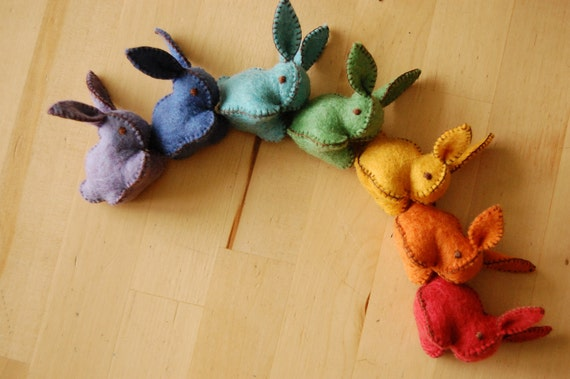 Rainbow Felted Bunnies Set - SMALL BUNNIES set -- Handmade felt pure wool