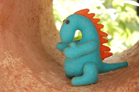 Turquoise and Orange Felted Dragon Toy -- Handmade Pure Merino Wool -- Chinese Zodiac Animal
