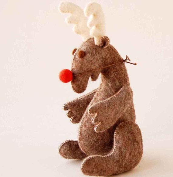 Brown felted CLOWN MOOSE - Handmade felt soft animal sculpture - Unique eco friendly toy