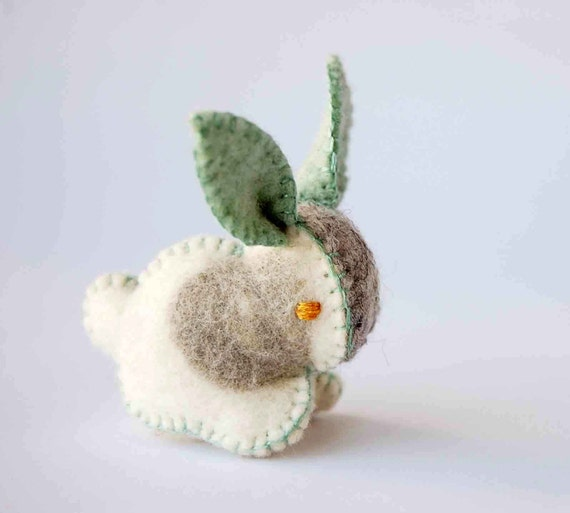 Grey White and Green Felt Bunny Rabbit Handmade OOAK