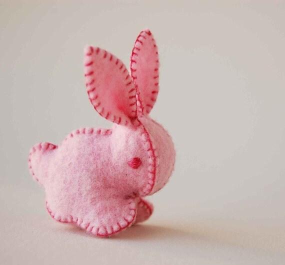 Bubble Gum Pink Felt Bunny Rabbit Handmade OOAK
