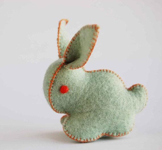 Green and Orange Felt Bunny Rabbit Toy Handmade OOAK