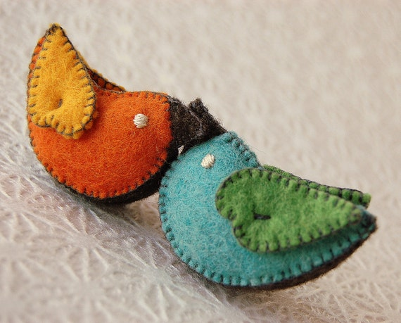 Felted Love Birds --  Eco friendly Pure Merino Wool Set of Toys -- Sweet Wedding Gift