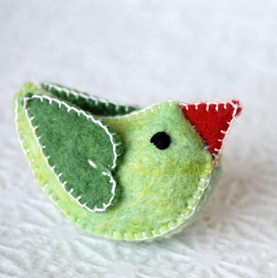 GREEN felt LOVE BIRD Handmade in Canada Pure Wool