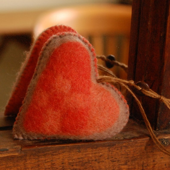ON SALE Felt Heart Handmade in Canada Pure Wool Red Orange and Beige OOAK