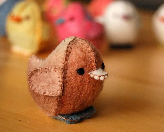 Felt Beige Chicken Toy Handmade in Canada Pure Wool Toy OOAK