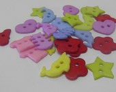 Buttons, Quality plastic, Different shapes, colors