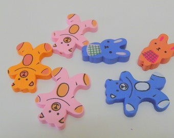 6 pcs,Teddy bears and bunny rabbits, Wood, Embellishment, Blue, pink, orange