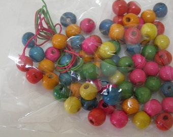 Wood beads, craft pack, multi colored, 0.4 in, small wooden beads, 50 plus