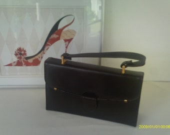 Vintage Handbag / Black Handbag / Rectangular Handbag
