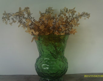 Vintage Green Glass Vase /  EO Brody Co