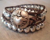 "Silver leather wrap bracelet ""Tough Love"", metallic silver, heart, love, wings, dagger, rocker, distressed gray leather, edgy boho glam"