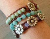 "Boho leather wrap bracelet, ""Daisy Chain"", silver daisy flower, pink opal, pastel spring boho, country girl chic, bohemian"