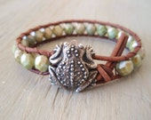 """Rustic frog leather wrap bracelet """"Feelin' Froggy"""" earthy green, signed frog button, toad, nature inspired, fall rustic boho, on SALE"""