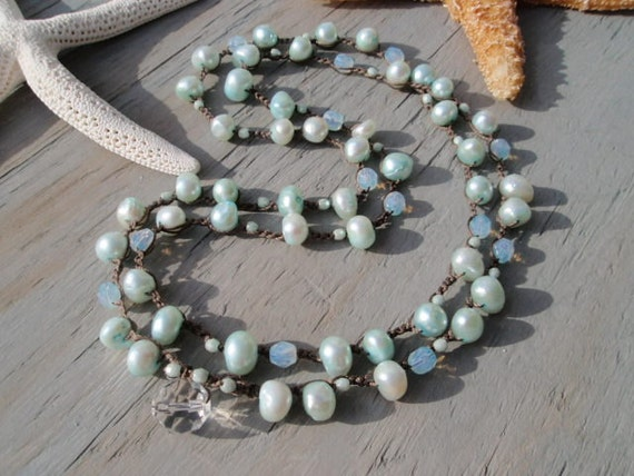 Cloud Surfin' - Blue Opal Freshwater Pearl crocheted 2x double wrap necklace. opalescent, aqua, sky  blue