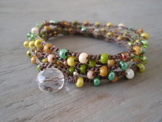 """Beaded crochet wrap bracelet necklace -SunDrops """"Vintage Hawaiian"""" long crocheted bohemian jewelry, green, yellow, retro boho chic"""