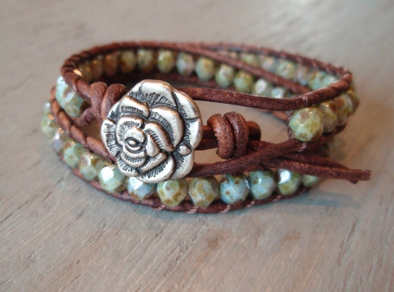 "Beaded leather wrap bracelet ""Earthy Rose"" distressed brown leather, sparkily rustic weathered green turquoise, shabby boho glam"