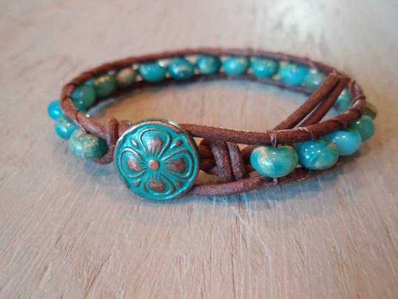 "Beaded leather bracelet ""Small World"" single wrap bracelet, semi precious jasper stone, turquoise blue, copper, rustic fall boho chic"