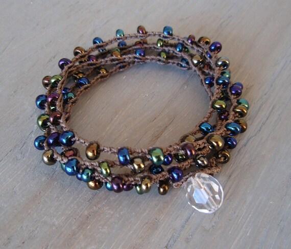 "Jewel tone Bohemian wrap bracelet - SunDrops ""Jewels"" long necklace / 5x bracelet. iridescent metallic purple, blue, fall boho chic SALE"