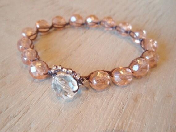"Shabby chic crochet bracelet - slashKnots Stackers ""Pink Blush 2"" crochet jewelry, sheer, stack & layer, neutral, romantic boho chic"