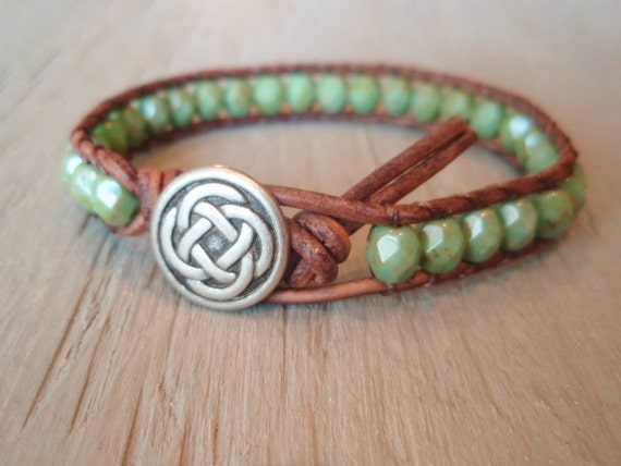 Green beaded leather wrap bracelet - Celtic Pride- brown leather & czech glass single wrap bracelet green turquoise, rustic bohemian