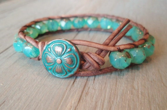 "SALE Leather wrap bracelet ""Shabby Seafoam"" distressed brown leather, copper clover, aqua chalcedony sea opal, boho beach chic"