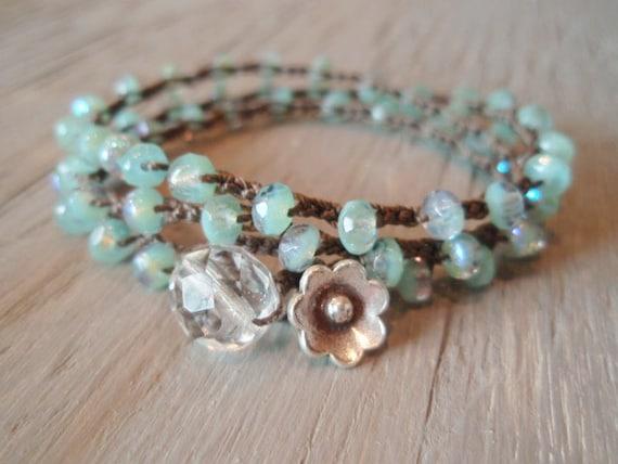 Boho beaded crochet necklace / 3x bracelet / 2x anklet - Laguna Beach - Thai Silver, bohemian, seafoam green, Shabby surfer chic, summer