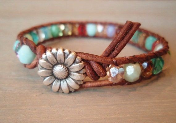 """Colorful leather wrap bracelet, """"RainBow"""", Shabby chic, turquoise, red, brown leather, silver daisy flower, multi colored boho chic"""