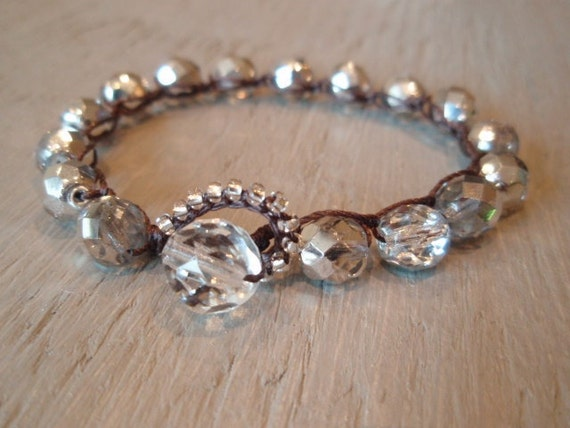 "Silver beaded crochet bracelet - slashKnots Stackers ""Metallic Silver Crystal"" czech glass bohemian jewelry, friendship stack bracelet, boho"