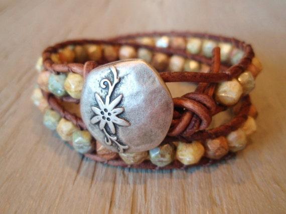 "RESERVED for SHERRIE- Boho leather wrap bracelet ""Desert Bloom"" distressed brown leather, neutral earthtones, Southwestern bohemian"