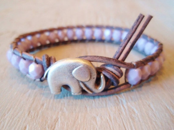 """Beaded leather wrap bracelet, """"Baby Elephant"""", lavender, purple, distressed gray leather, lucky good luck charm, boho chic, pastel"""