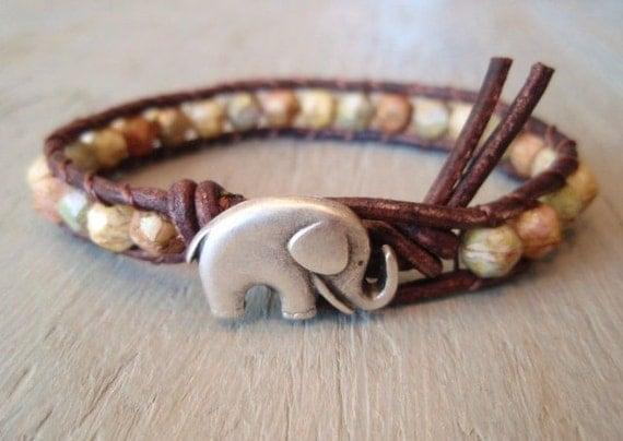 "Southwestern leather bracelet ""Safari Baby Elephant"", terra cotta, beige, good luck charm, lucky  earthy rustic boho chic"