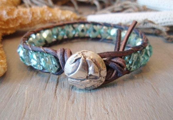 "Sailboat leather bracelet ""Sparklin' Seas"", faceted metallic sky blue, rustic sterling silver, sailing, nautical, beach boho surfer, on SALE"