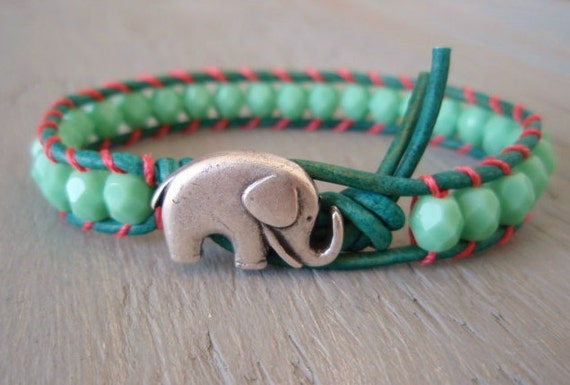 Seafoam green 'Miami' leather wrap bracelet -Baby Elephant- turquoise, coral, mint, lucky good luck charm, colorful summer boho chic