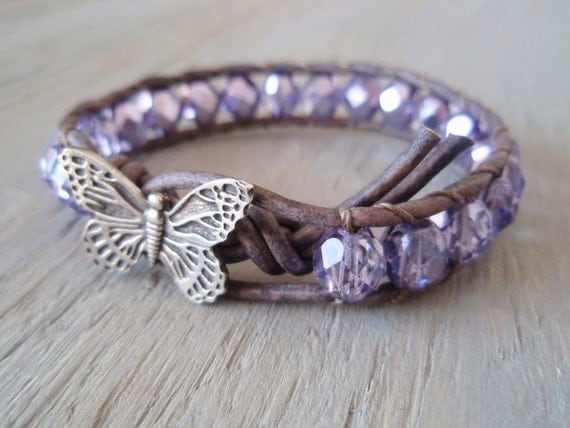 RESERVED for COURTNEY Butterfly leather bracelet 'Lavender in Flight', metallic lilac, amethyst, purple, nature lover, pastel