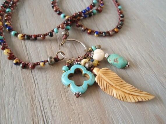 "Long Boho crochet necklace  ""FeatherWeight"", OOAK, turquoise, oxidized Sterling Silver, antique bone feather, Southwestern talisman jewelry"