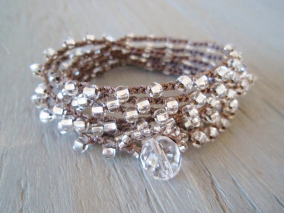 """RESERVED for MARY ESTELLE Long crochet wrap necklace 7x bracelet """"Silver Willow"""" clear silver glass, neutral boho chic"""