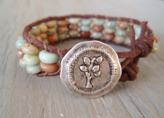 "Southwestern leather bracelet ""Sprout"", semi precious jasper stone, distressed leather, bohemian stack bracelet, organic beachy surfer chic"