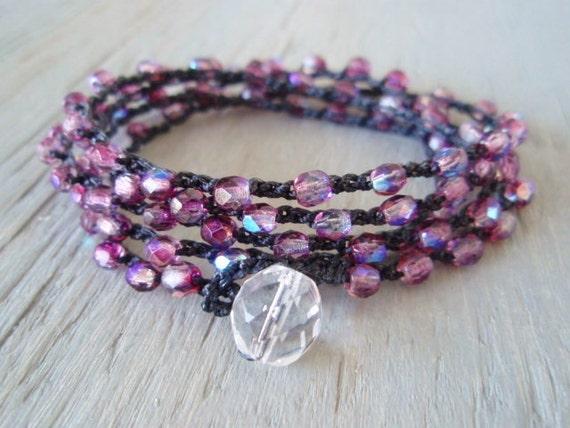 Pink crochet wrap bracelet necklace 'RaspBerry Fizz' iridescent berry pink, fuschia, crocheted long boho chic jewelry, bohemian surfer chic